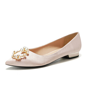 Flat Shoes Comfort Shoes Pearl Wedding Shoes For Bridal Pointed Toe