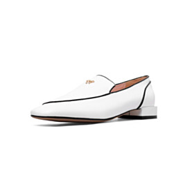 Leather Loafers Flat Shoes White Classic