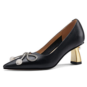 Pumps 6 cm Heel Womens Shoes Leather With Pearls Elegant Business Casual Black