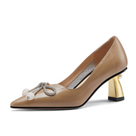 With Bow Beautiful Womens Footwear 6 cm Mid Heel Pumps Slip On Leather Chunky Heel