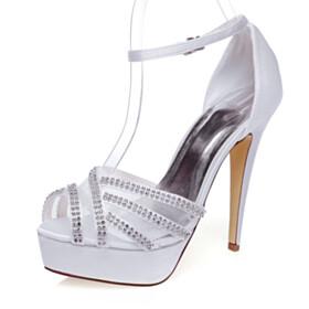 Wedding Shoes Buckle Platform Rhinestones Open Toe Stilettos Ankle Strap 13 cm High Heels Formal Dress Shoes Satin White