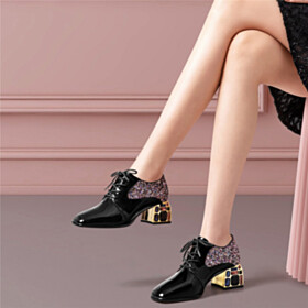 Chunky Hee Black Lacing Up Closed Toe Block Heels Womens Shoes Sparkly Shooties Leather Elegant 1 inch Low Heel