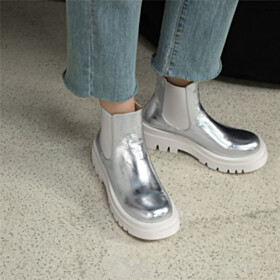 Platform Comfort Flat Shoes Metallic Fur Lined Chelsea Leather Silver Booties Sweater