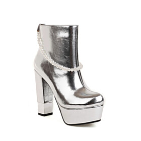 Womens Shoes Pearls Booties Patent Block Heel 5 inch High Heeled Silver Chunky Hee