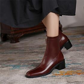 Leather Booties Block Heel Brown Chunky