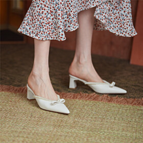 With Pearls Cute Bowknot Low Heeled Womens Sandals Thick Heel 2021 Mules