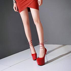 Platform Heel Round Toe Pumps Red Bottoms Modern 15 cm High Heels