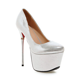 Slip On Round Toe Pumps 15 cm High Heel Spring Faux Leather Stilettos