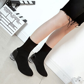 3 cm Low Heel Sock Boots Black Ankle Boots Round Toe Nubuck Stretchy Going Out Shoes
