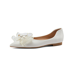 Cute Ballerinas Pointed Toe With Bowknot Womens Footwear Closed Toe Leather Going Out Footwear