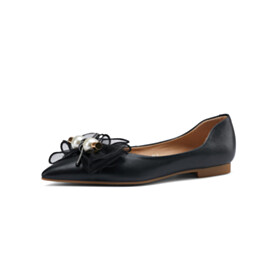 Cute Black Ballet Shoes Going Out Footwear With Pearls