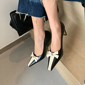 Classic Black With Color Block Womens Shoes Thick Heel Closed Toe Mid Heel Pumps Business Casual