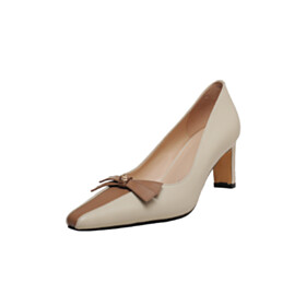 Leather With Color Block Classic White Pumps 6 cm Mid Heels
