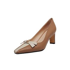 Color Block Womens Footwear 6 cm Mid Heels Thick Heel