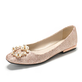 Luxury Round Toe Glitter 2021 Sparkly Wedding Shoes For Women Pearls Flat Shoes