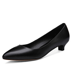 Pointed Toe Classic Comfort 1 inch Low Heel Elegant Pumps Closed Toe Dressy Shoes Kitten Heel