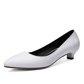 Office Shoes Classic Pumps Elegant Low Heel Grained Pointed Toe Formal Dress Shoes White Leather Slip On Comfort Womens Footwear
