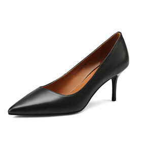 Stilettos Classic Leather Pumps Mid Heels Business Casual Work Shoes Closed Toe Pointed Toe Grained