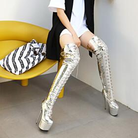 Stilettos Metallic Silver Platform Over The Knee Boots 6 inch High Heel Tall Boots