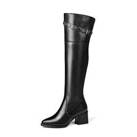 5 cm Low Heel Knee High Boot Winter Riding Boots Chunky Black Fur Lined Classic