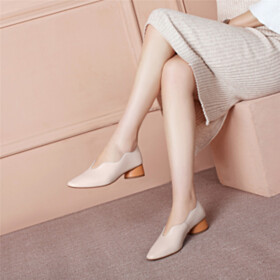 Low Heel Leather Womens Footwear Pumps Almond Toe
