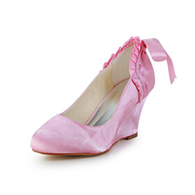 Wedges Satin Round Toe Wedding Shoes For Bridal 3 inch High Heel Dress Shoes