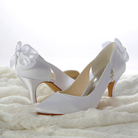 Pumps Dress Shoes Satin White Bowknot Stiletto Pointed Toe 3 inch High Heel Wedding Shoes For Bridal