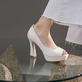 High Heel Chunky Patent Classic White Work Shoes Business Casual Platform Pumps
