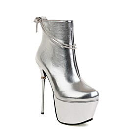 Platform Fashion Silver Metallic 6 inch High Heel Sparkly Faux Leather Booties Closed Toe Stiletto Heels Round Toe