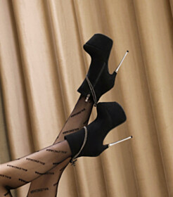 Platform Booties Black Suede Stiletto Classic 6 inch High Heel Round Toe