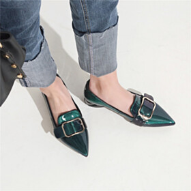 Flat Shoes Fashion Leather Dark Emerald Green Loafers Pointed Toe Business Casual
