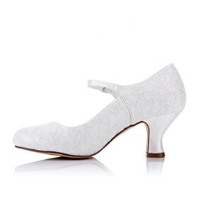 Lace Round Toe Wedding Shoes For Bridal Pumps With Ankle Strap White 6 cm Mid Heel