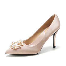 Satin High Heels Pumps Pointed Toe Stilettos Beautiful Bridals Wedding Shoes Pearls