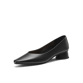 Chunky Comfort Black Leather Pointed Toe 1 inch Low Heels Womens Shoes Classic
