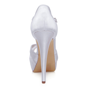Wedding Shoes 5 inch High Heel Lace Formal Dress Shoes Buckle Stiletto Peep Toe Platform Heel Ankle Strap