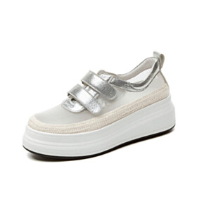 Flat Shoes Silver Fashion Beautiful Sneakers Tulle Closed Toe