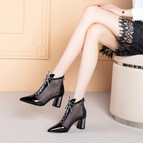 Elegant Thick Heel Closed Pointed Toe Stylish With Rhinestones Ankle Boots 8 cm High Heel Black Womens Sandals Lacing Up Business Casual Block Heels