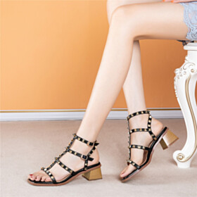 Sexy Classic 2 inch Low Heel Block Heel Peep Toe Sandals Thick Heel Leather Gladiator Strappy Black