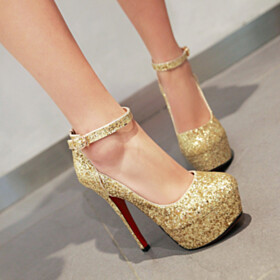 Pumps Sequin Platform Heel Closed Toe 5 inch High Heel Sparkly Red Bottoms Evening Shoes