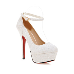 With Ankle Strap Party Shoes Pumps Red Sole Glitter White Round Toe High Heel Platform