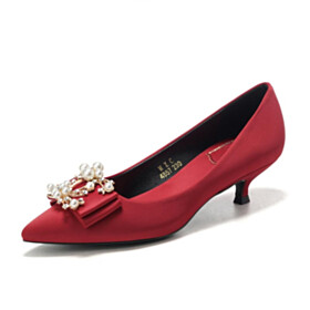 With Bowknot Burgundy Shoes Wedding Shoes Pumps Pointed Toe 1 inch Low Heel With Pearl Elegant
