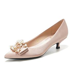 Champagne Slip On 1 inch Low Heel Formal Dress Shoes Wedding Shoes For Women Pumps Pointed Toe Beautiful Kitten Heel