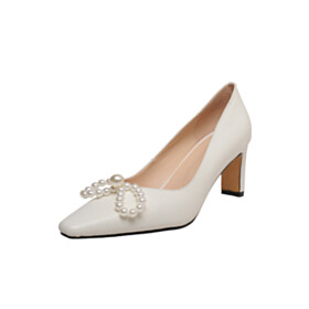Leather Shoes Going Out Footwear 6 cm Mid Heel White Cute Pumps