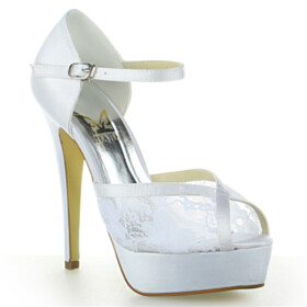 Peep Toe White Dress Shoes Ankle Strap Wedding Shoes For Women Lace 5 inch High Heel Elegant