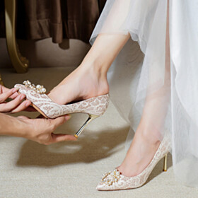 3 inch High Heel Party Shoes Wedding Shoes For Bridal 2021 Pumps Beautiful Closed Toe Champagne Pointed Toe