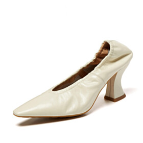 Classic Pumps Pointed Toe Comfort High Heel Vintage Chunky White Business Casual Shoes