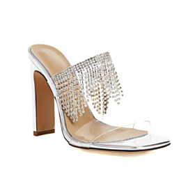 Sparkly Silver 4 inch High Heel Stylish Metallic Thick Heel Tassel Sandals Ankle Strap Peep Toe Evening Party Shoes Clear Rhinestones