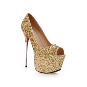 Gold Pumps 6 inch High Heel Stiletto Red Soles Sparkly Platform Fashion