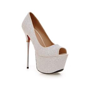 Pumps Modern Sparkly Red Bottoms Stiletto White Sequin High Heels Peep Toe
