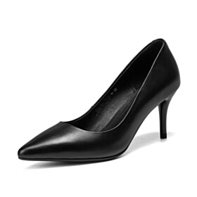 Black Classic Mid High Heeled Pumps Pointed Toe
